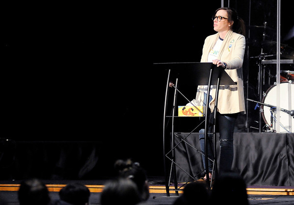 Don Knight   The Herald Bulletin<br /> Jenna Scott talks about her son Hudson Scott at Pendleton Christian Church on Wednesday. Scott founded Brownsburg-based Project Hudson with her husband Wesley Scott after their son committed suicide.