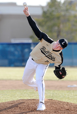 Don Knight | The Herald Bulletin<br /> Lapel's Seth Baugh pitches for the Bulldogs as they traveled to Shenandoah on Wednesday. Baugh struck out 16 in six innings.