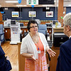 John P. Cleary | The Herald Bulletin<br /> Debra Hunt, center, PCT certified, of U.S. Renal Care, explains the facilities to Carlene Westerfield-Gunter and Dirk Webb of the Madison County Chamber during the open house Thursday for the new Anderson dialysis clinic at 2220 East 59th Street.