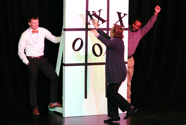 Don Knight   The Herald Bulletin<br /> Four teams compete in a  game of relay tic tac toe during United Way of Madison County's awards celebration and annual meeting at Harrah's Hoosier Park on Tuesday.
