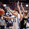 Anderson Prep's Larry Rodriguez drives to the basket for a shot as Daleville's Cayden Gothrup tries to defend.
