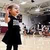Hollyann Stotler, 18 months, is a big fan in a little body as she shows her spirit during warmups for her Broncos at the Wes-Del 1A boys sectional Tuesday evening. Hollyann gets the spirit honestly since her dad is Daleville head coach Tyler Stotler.