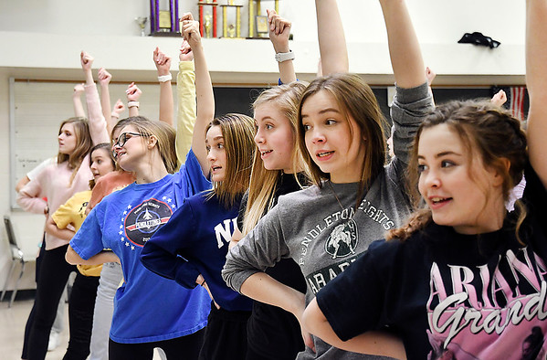Pendleton Heights High School show choir members go through their dance moves as they rehearse for their appearance at the 2020 FAME Show Choir National Finals at Branson, Missouri.