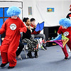 Thing 2 and Thing 1 reign havoc as they are released from the Fun In a Box by the Cat in the Hat in Erica Reasoner's Indiana Christian Academy fifth-grade classes presentation of the Cat in the Hat play Monday at the school.