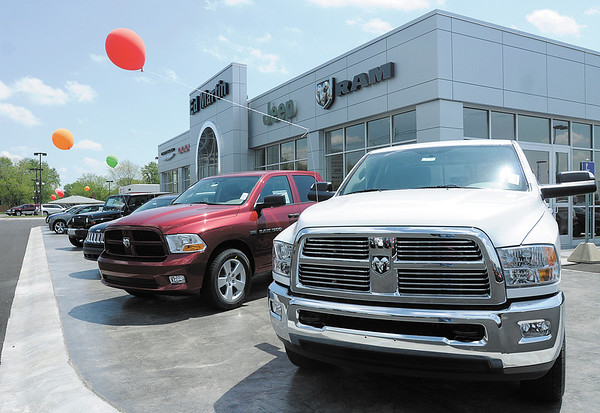 Balloons decorate new vehicles as Ed Martin held a grand opening for their new Chrysler dealership in Anderson on Thursday. The facility will sell and service Chrysler, Dodge, Jeep and Ram vehicles.