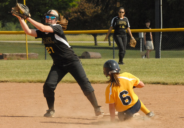 Shenandoah shortstop Ellie Rider slides safely into second base.