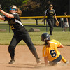 Shenandoah shortstop Ellie Rider slides safely into second base.