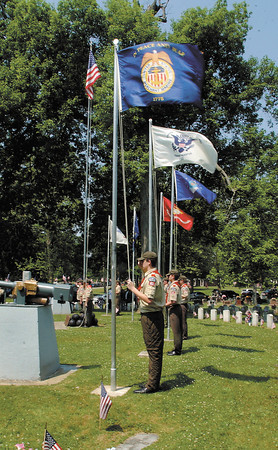 The flags of all six branches of the military were raised during the Memorial Day ceremony at Maplewood Cemetery conducted by Boy Scout Troop 301.