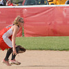 Frankton Eagle Courtney Condon tosses the ball to second base after a miscue at her shortstop position.