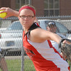 Frankton Eagle Shelby Hulse throws out the runner at first after snagging a grounder at her third base position.