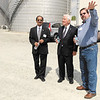 Raj Rao, left, and Brian Markley, right, give Sen. Richard Lugar a tour of the Indiana Municipal Power Agency Combustion Turbine Station in Anderson on Friday.