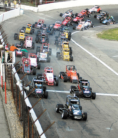 JoJo Helberg, # 7,  got the jump over pole sitter Tony Hunt and Aaron Pierce at the drop of the green flag for the 64th running of the Little 500 Saturday night.