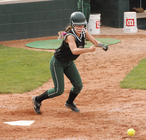 Kelsey Hubble lays down a bunt for the Arabians.