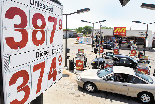 Oil prices are down but gas prices have taken a jump like at this McClure Mini Mart on Main Street in Anderson.
