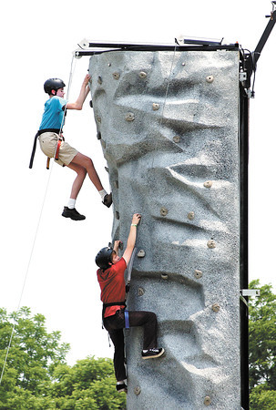 A rock climbing wall was a popular activity for students to do during Anderson High School's student appreciation program Friday.