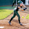 Pendleton Heights' Kinzie Davis bunts the ball as the Arabians faced Roncalli in regional softball action on Tuesday.