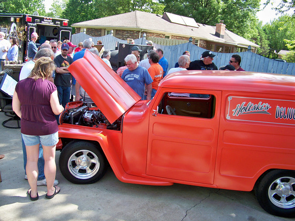 """Steve Griffith and many friends completed body work, painted, added graphics (which spell """"Holtski's Delivery Service"""") and rebuilt the engine of this 1948 Willys Jeep Delivery Sedan for Steve Holt."""