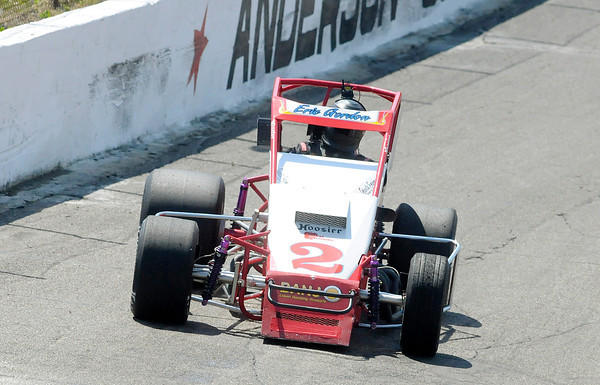 Eric Gordon qualifies for the fifth spot with a four lap time of 44.374 during qualifying for the Pay Less Little 500 at the Anderson Speedway on Thursday.