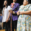 "Violet Beauregarde (Jamila Haslaf), Willy Wonka (Edwin ""Freddie"" Rosado) and Mrs. Beauregarde (Jasmine Golden) sing their song as part of Highland Jr. High School's production of the play ""Willy Wonka Jr.""   The play will be performed this weekend."