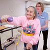 John P. Cleary | The Herald Bulletin<br /> ManorCare Health Services Occupational Therapist Nancy Helder works with patient Theresia Scheide on her balance, strength, and coordination during Scheide's session Monday afternoon.