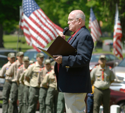 John P. Cleary   The Herald Bulletin<br /> Stephen Jackson, Madison County historian, speaks at the Memorial Day Observance at Maplewood Cemetery Monday giving the background of how the holiday of honoring our fallen veterans came to be.