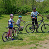 Kendall and Crawford Douglas are ready to hit the trails at the Rangeline Nature Preserve with their dad, Bradford, for the Mountain Bike Trail Ride hosted by the White River Bicycle Coalition.