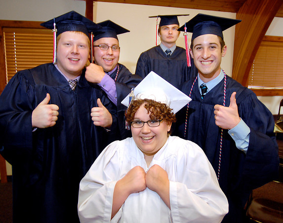 John P. Cleary   The Herald Bulletin<br /> The Indiana Christian Academy Class 0f 2014 show their excitement to be graduating Friday evening before the Commencement Service started. The graduates are Aleasha Atkinson, front, then L to R are Dakota Stevens, Zachary Tuer, Thomas Pavelka, and Aaron Martin.