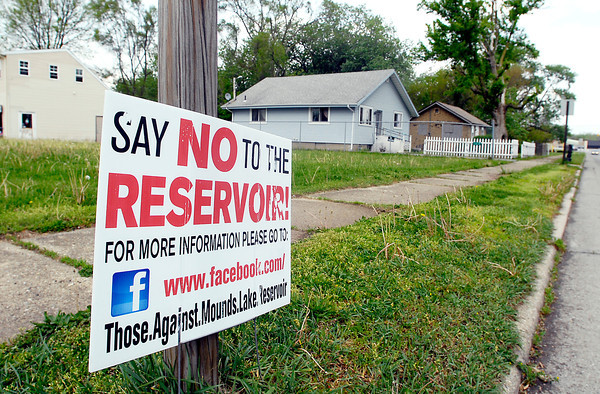 John P. Cleary   The Herald Bulletin<br /> A sign against the proposed Mounds Reservoir on east 18th Street in the Irondale neighborhood.