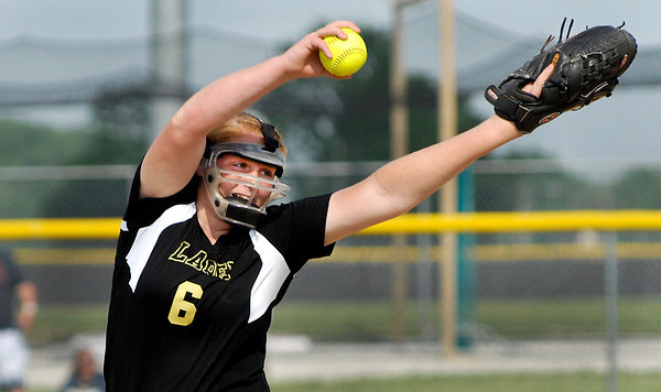 John P. Cleary   The Herald Bulletin<br /> Lapel's Brooke Daniels lets go with  her pitch during their game against Wapahani in the Lapel 2A Softball Sectional Monday.