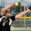 John P. Cleary | The Herald Bulletin<br /> Lapel's Brooke Daniels lets go with  her pitch during their game against Wapahani in the Lapel 2A Softball Sectional Monday.