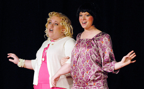 """John P. Cleary   The Herald Bulletin<br /> Miss Dorothy Brown (Kirby Cunningham) and Millie Dillmount (Alaina Coplin) become best  friends in """"Thoroughly Modern Millie"""" at Mainstage Theatre."""