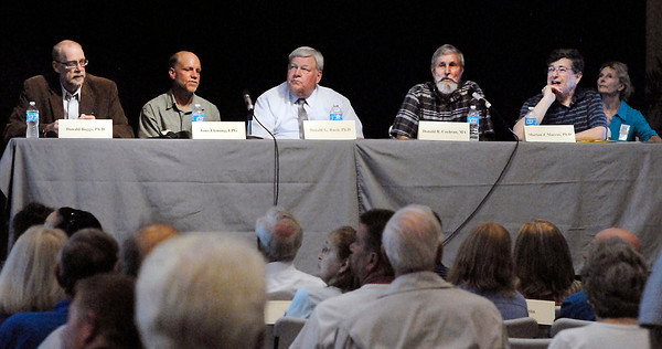 John P. Cleary   The Herald Bulletin<br /> The panel discussion on Mounds Lake Project Monday evening was made up with Donald Boggs, moderator; Tony Fleming, Ph.D., Hydrogeologist; Donald Ruch, Ph.D. Biologist; Donald Cochran, M.A., Archaeologist; and Morton Marcus, Ph.D., Economist.