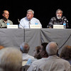 John P. Cleary | The Herald Bulletin<br /> The panel discussion on Mounds Lake Project Monday evening was made up with Donald Boggs, moderator; Tony Fleming, Ph.D., Hydrogeologist; Donald Ruch, Ph.D. Biologist; Donald Cochran, M.A., Archaeologist; and Morton Marcus, Ph.D., Economist.