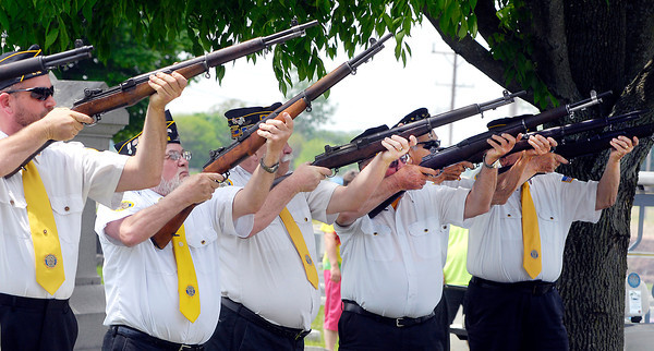 John P. Cleary | The Herald Bulletin<br /> The Lapel American Legion Post 212 Honor Guard give a 21-gun salute during Memorial Day services at Brookside Cemetery Monday.