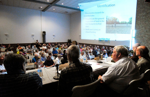John P. Cleary   The Herald Bulletin<br /> A large crowd was in attendance for the Panel Discussion of Concern on the Mounds Lake Project Monday evening at Millcreek Civic Center in Chesterfield.