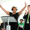 Don Knight | The Herald Bulletin<br /> Cherish McGruder shares her story of overcoming adversity to earn her degree to applause from Andy Bowne and the audiance on hand for Ivy Tech's ground breaking for their new campus in Anderson. To view or buy this photo and other Herald Bulletin photos, visit heraldbulletin.smugmug.com.