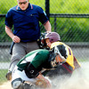John P. Cleary | The Herald Bulletin<br /> Pendleton Heights catcher Noah Etchison traps the ball as Alexandria's Drew Johnson slides into home as the umpire waits to make the call of safe in first inning action of their game Monday evening.