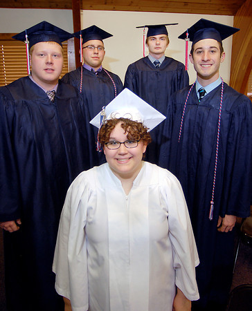 John P. Cleary | The Herald Bulletin<br /> The Indiana Christian Academy Class 0f 2014 are Aleasha Atkinson, front, then L to R are Dakota Stevens, Zachary Tuer, Thomas Pavelka, and Aaron Martin.