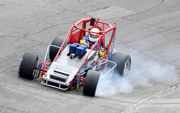 Don Knight | The Herald Bulletin<br /> Jeff Bloom qualifies for the Little 500 at The Anderson Speedway on Thursday. To view or buy this photo and other Herald Bulletin photos, visit heraldbulletin.smugmug.com.