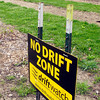 "John P. Cleary | The Herald Bulletin<br /> The ""No Drift Zone"" sign that sits on the edge of Tom and Crystal Ostler's property."
