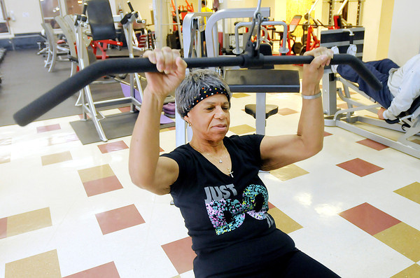Don Knight   The Herald Bulletin<br /> ANN JOHNSON, 69, works out at the YMCA in Anderson. Johnson ran in her first Mini Marathon this year.