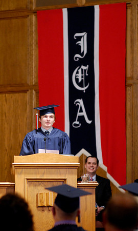 John P. Cleary   The Herald Bulletin<br /> Indiana Christian Academy class 0f 2014 Valedictorian Thomas Pavelka gives his address to the class during commencement services Friday evening.