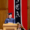 John P. Cleary | The Herald Bulletin<br /> Indiana Christian Academy class 0f 2014 Valedictorian Thomas Pavelka gives his address to the class during commencement services Friday evening.