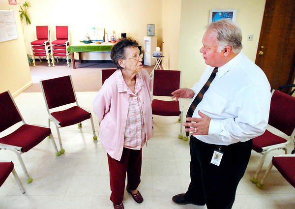 John P. Cleary   The Herald Bulletin<br /> Virginia Barnes, former director, talks with Dr. Don Osbourne the present executive director of Sowers of Seeds.