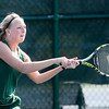 Don Knight | The Herald Bulletin<br /> Pendleton Heights' Madilyn Moore returns a volley to Yorktown's Hannah Bowman in the No. 3 singles match on Friday.