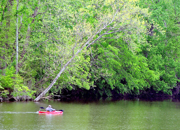 John P. Cleary   The Herald Bulletin<br /> Cooler temperatures and light rain didn't stop this kayaker from getting out and paddling around Shadyside Lake Tuesday. Warmer and brighter days are forecast for the next several days.