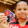 Don Knight | The Herald Bulletin<br /> Zahra Dock holds up her USSSA Runner-Up medal. Her team, the Lady Heat will be playing in the USSSA national tournament in Gatlinburg Tenn. this summer.