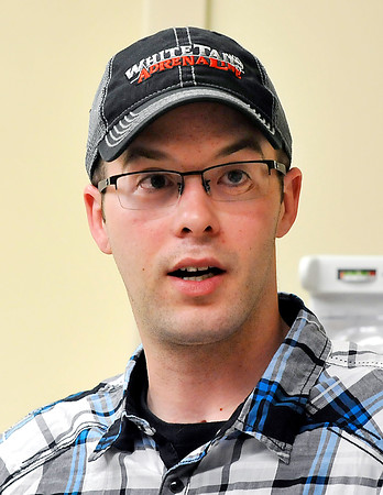 John P. Cleary | The Herald Bulletin<br /> Jake Hendrick, who had his head smashed in an elevator in 2014, meets with doctors from St.Vincent Anderson Regional Hospital's trauma team that helped treat him after his accident.