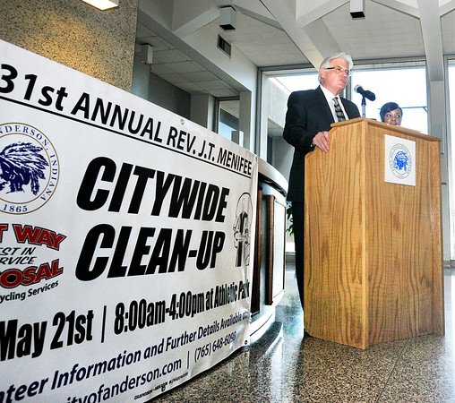 John P. Cleary   The Herald Bulletin<br /> Mayor Thomas Broderick Jr. and  Kim Townsend, assistant director of the Anderson Community Development Department, announce details Monday for the upcoming 31st annual J.T. Menifee Citywide Cleanup taking place from 8:00 a.m. to 4:00 p.m.this Saturday, May 21st. The city will provide gloves, trash bags, safety vests and lunch for all the volunteers.