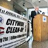 John P. Cleary | The Herald Bulletin<br /> Mayor Thomas Broderick Jr. and  Kim Townsend, assistant director of the Anderson Community Development Department, announce details Monday for the upcoming 31st annual J.T. Menifee Citywide Cleanup taking place from 8:00 a.m. to 4:00 p.m.this Saturday, May 21st. The city will provide gloves, trash bags, safety vests and lunch for all the volunteers.